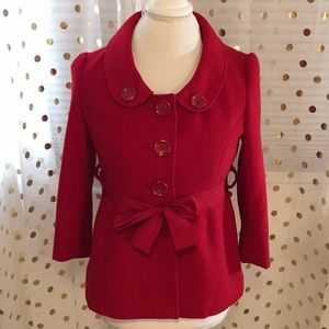 Gorgeous Red Forever 21 Jacket M w/ Ribbon Belt